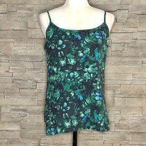 LOFT green leaf-print camisole